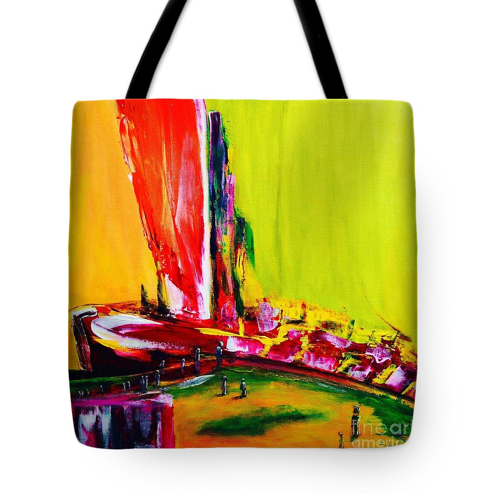 Original Tote Bag featuring the painting All Aboard by ElsaDe Paintings