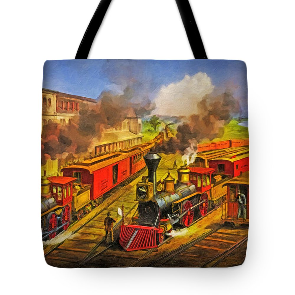 Railroad Tote Bag featuring the digital art All Aboard The Lightning Express 1874 by Lianne Schneider