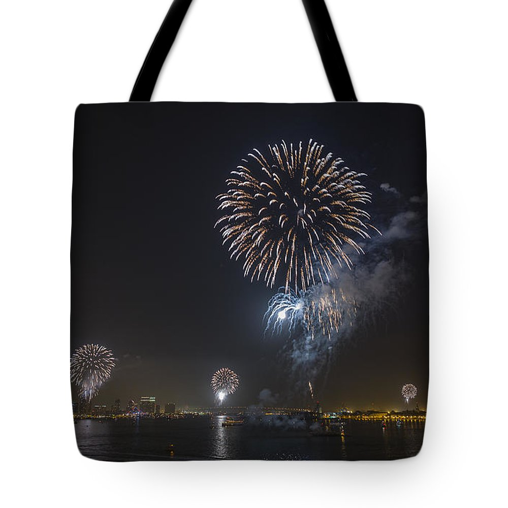 Fireworks Tote Bag featuring the photograph All At Once San Diego Fireworks by Scott Campbell