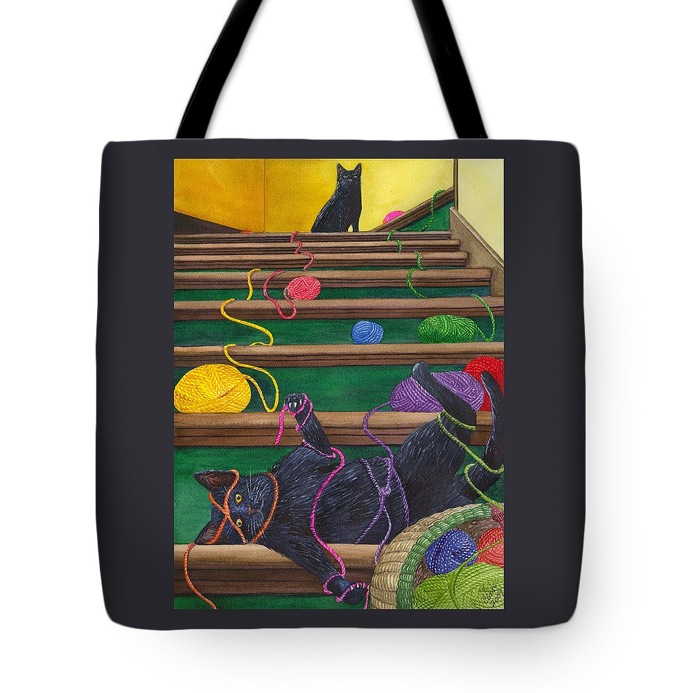 Cat Tote Bag featuring the painting All Caught Up by Catherine G McElroy