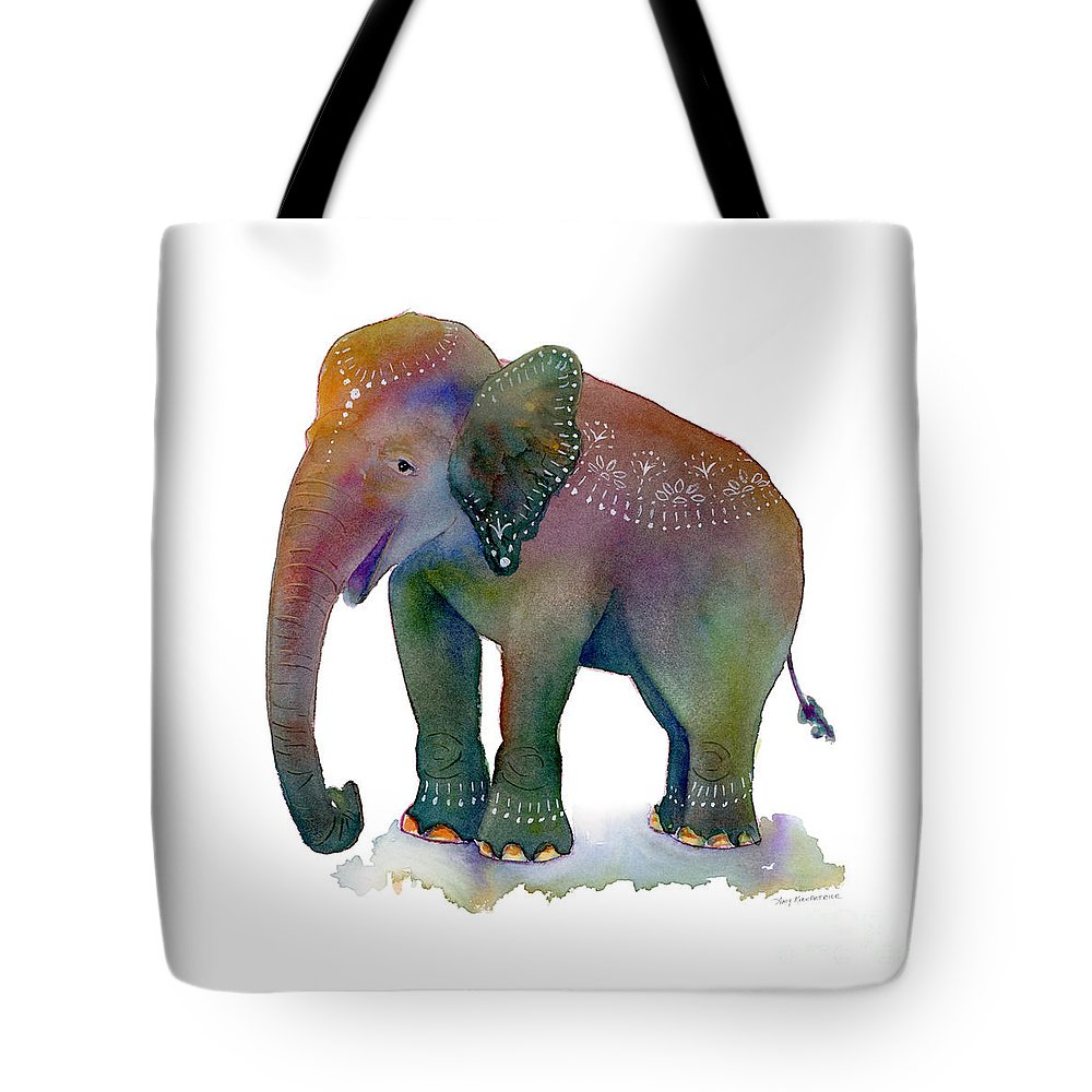 Elephant Tote Bag featuring the painting All Dressed Up by Amy Kirkpatrick