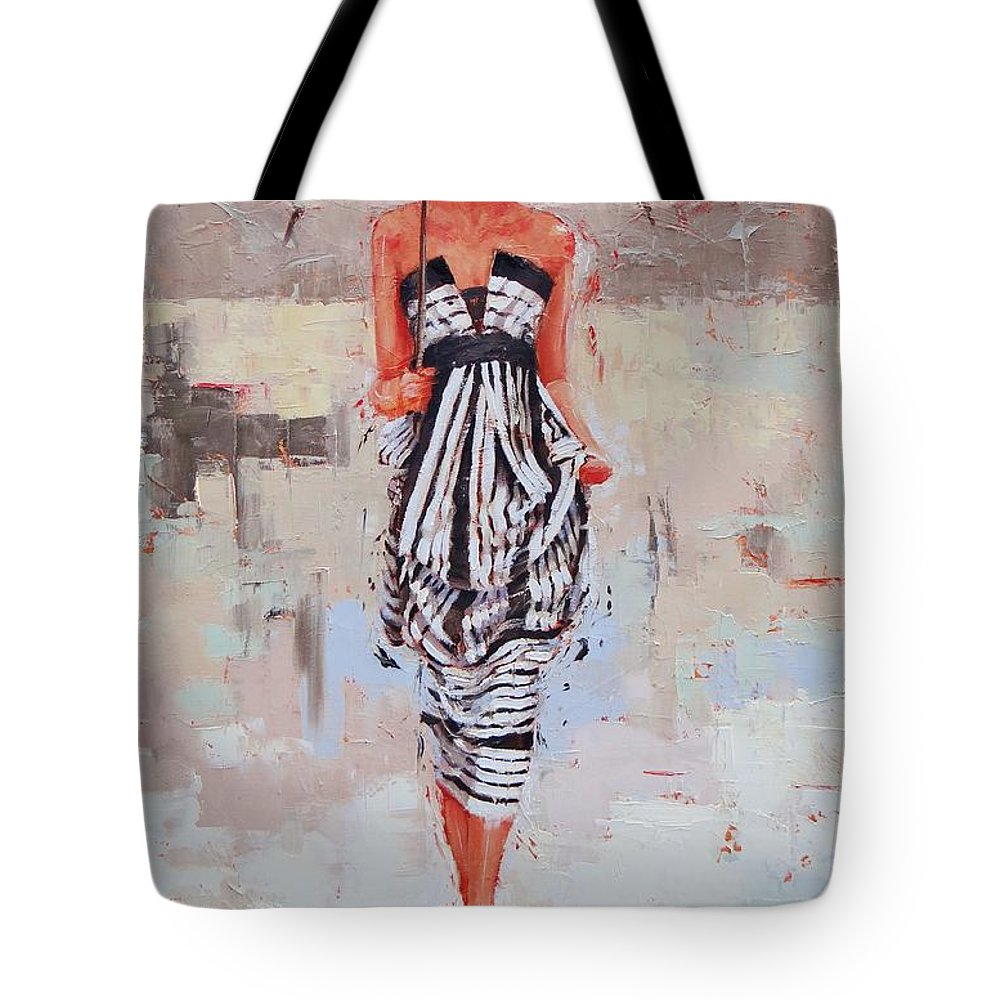 Laura Zanghetti Tote Bag featuring the painting All Dressed Up by Laura Lee Zanghetti