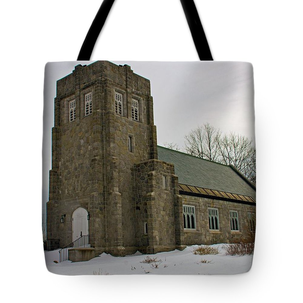 Poland Maine Tote Bag featuring the photograph All Souls Chapel Poland Maine by Catherine Melvin