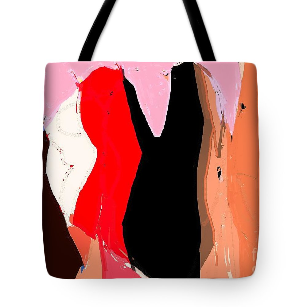 Figurative Tote Bag featuring the digital art All The Right Parties by Carl Contrera