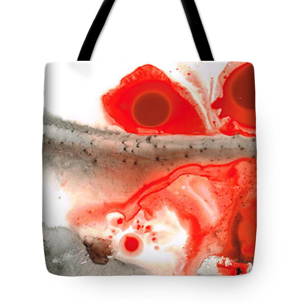 Red Tote Bag featuring the painting All Things Considered - Red Black And White Art by Sharon Cummings