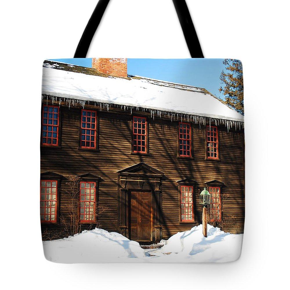 Deerfield Tote Bag featuring the photograph Allen House Deerfield Ma by James Kirkikis
