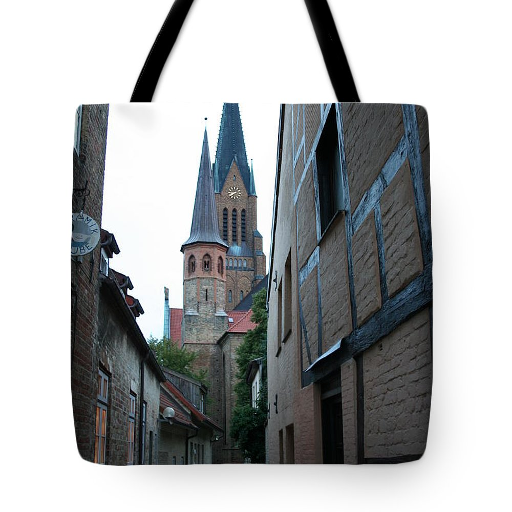 Alley Tote Bag featuring the photograph Alley In Schleswig - Germany by Christiane Schulze Art And Photography