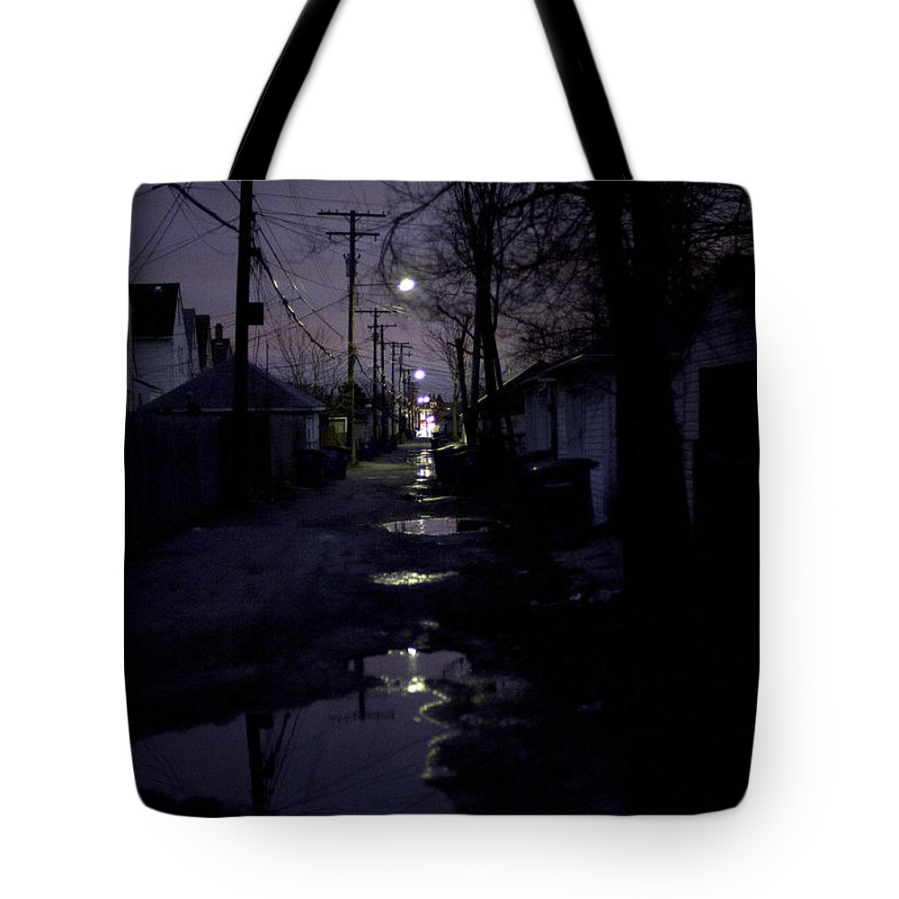 Cityscape Tote Bag featuring the photograph Alley Night by Steven Dunn