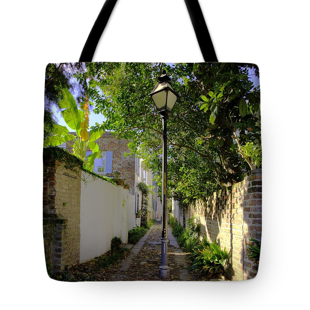 Townhouse Tote Bag featuring the photograph Alleyway by Bruce Bain