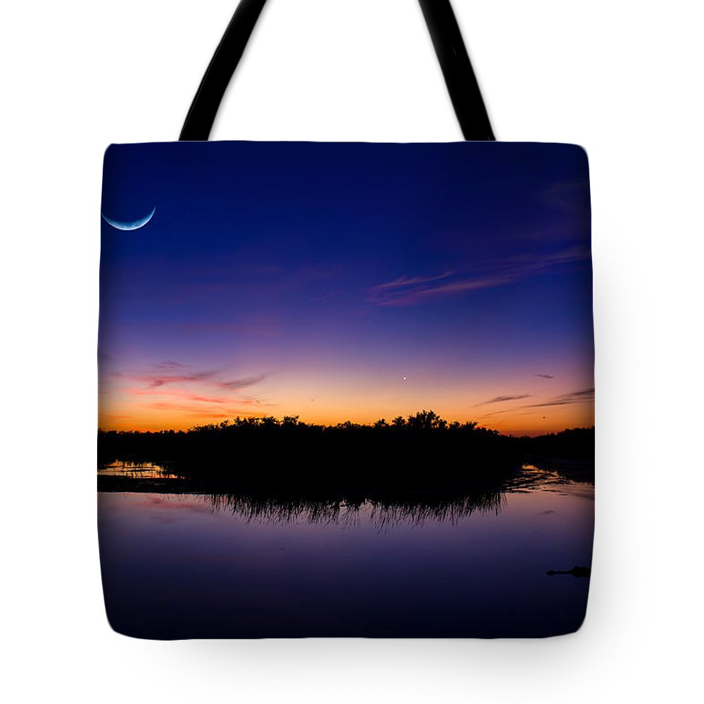 Moon Tote Bag featuring the photograph Alligator Twilight by Mark Andrew Thomas