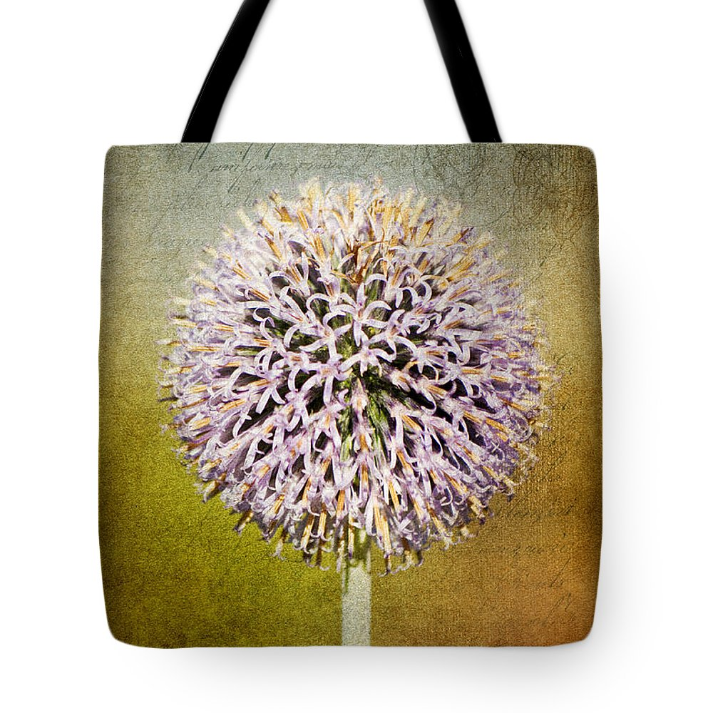 Allium Tote Bag featuring the photograph Allium Flower by Angela Doelling AD DESIGN Photo and PhotoArt
