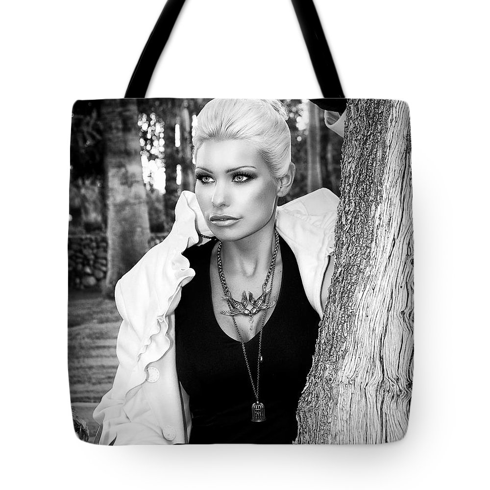 Blonde Tote Bag featuring the photograph Allure Bw Palm Springs by William Dey