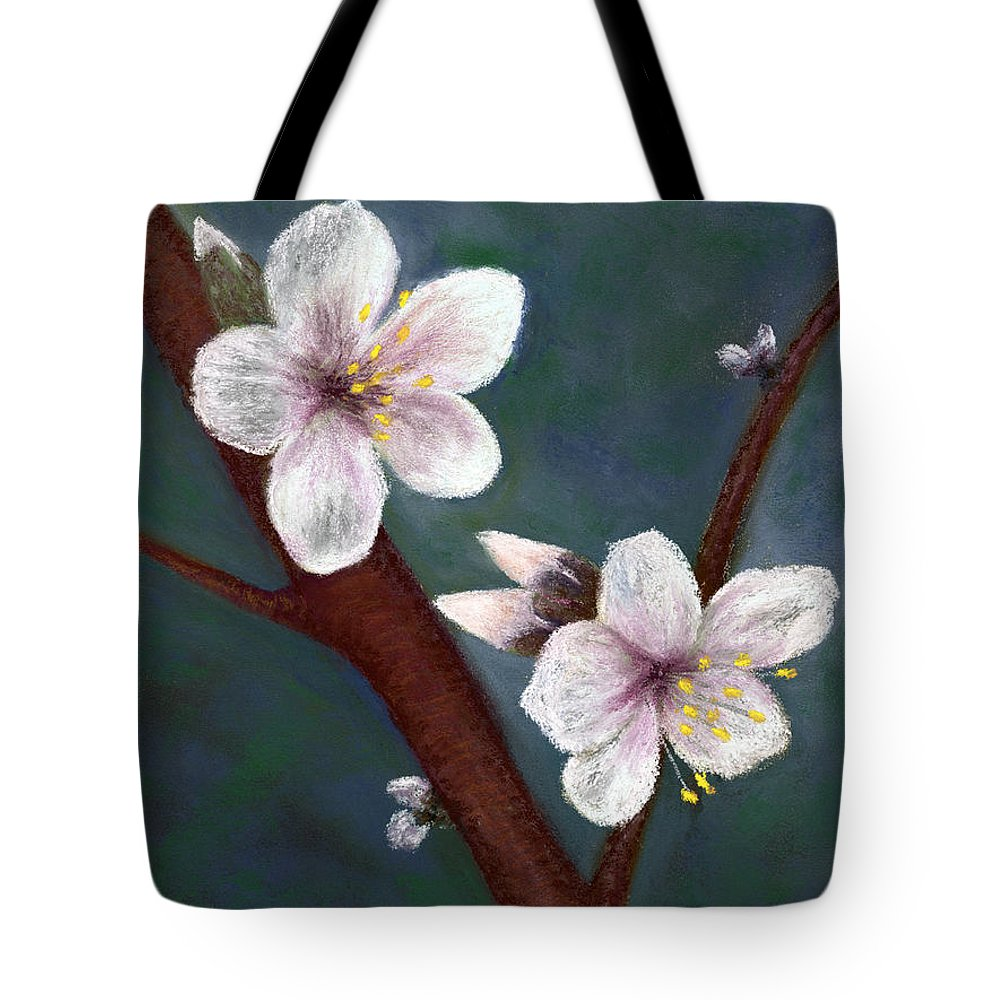 Almond Flowers Tote Bag featuring the pastel Almond Blossoms by Ginny Neece