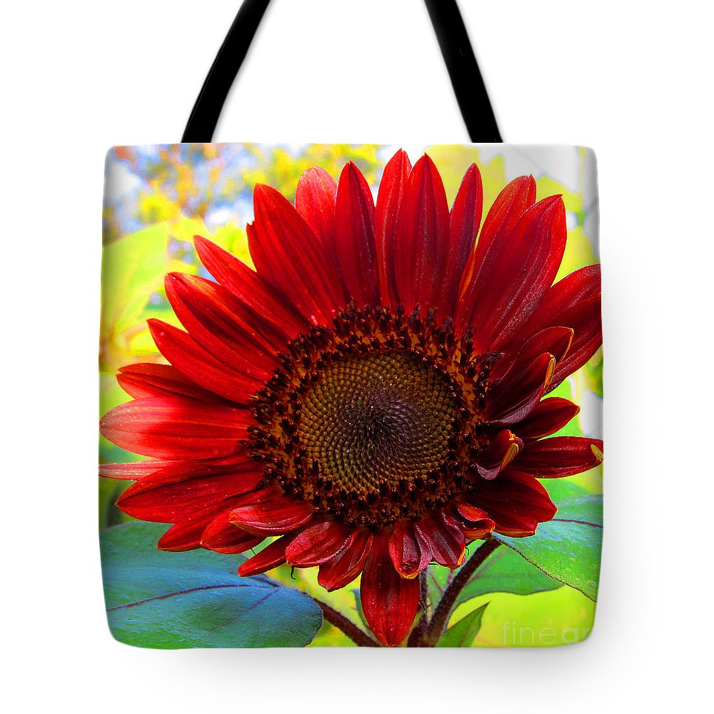 Sunflower Tote Bag featuring the photograph Almost Ready Red by Tina M Wenger