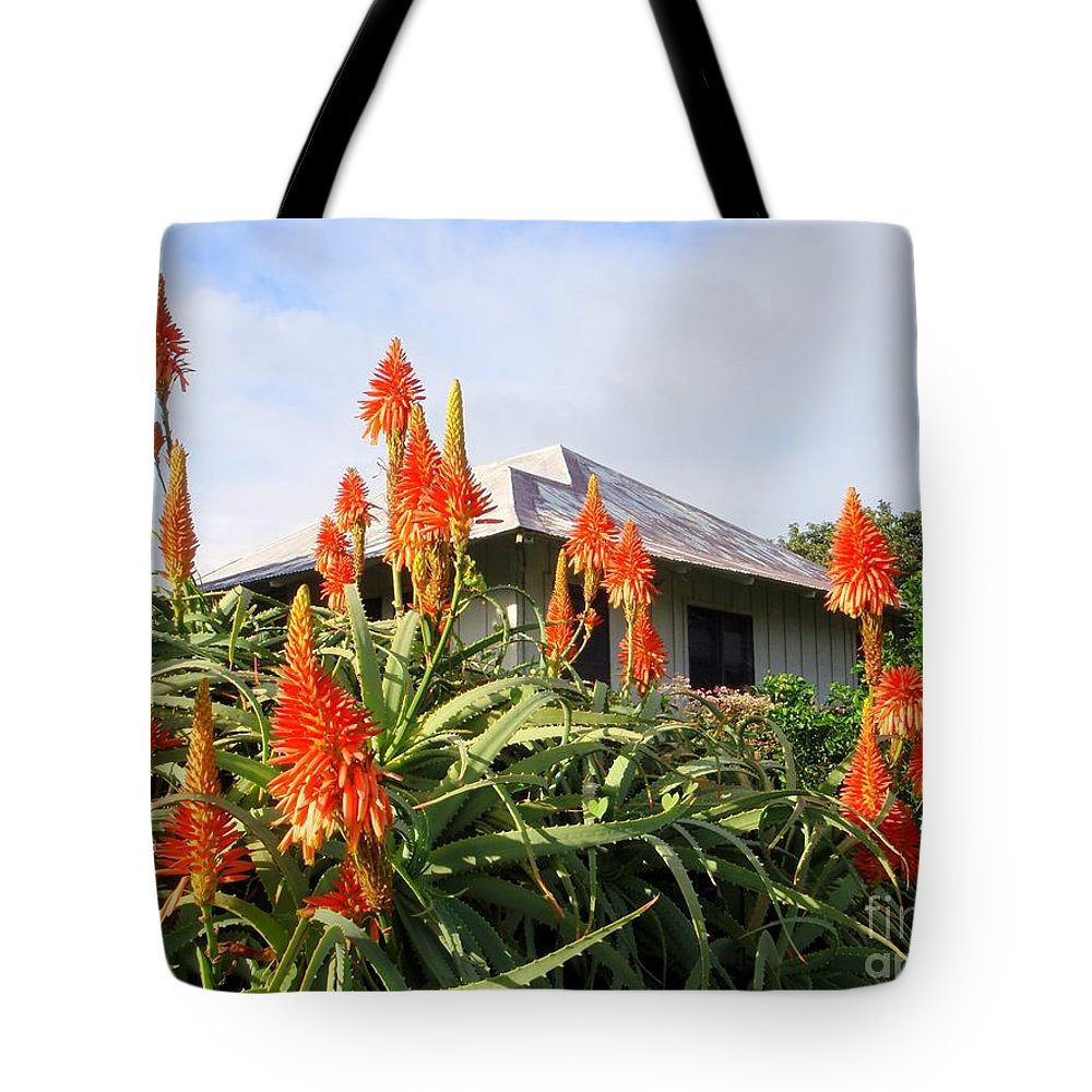 Aloe Vera Tote Bag featuring the photograph Aloe Vera And Tin Roof Plantation House by Mary Deal