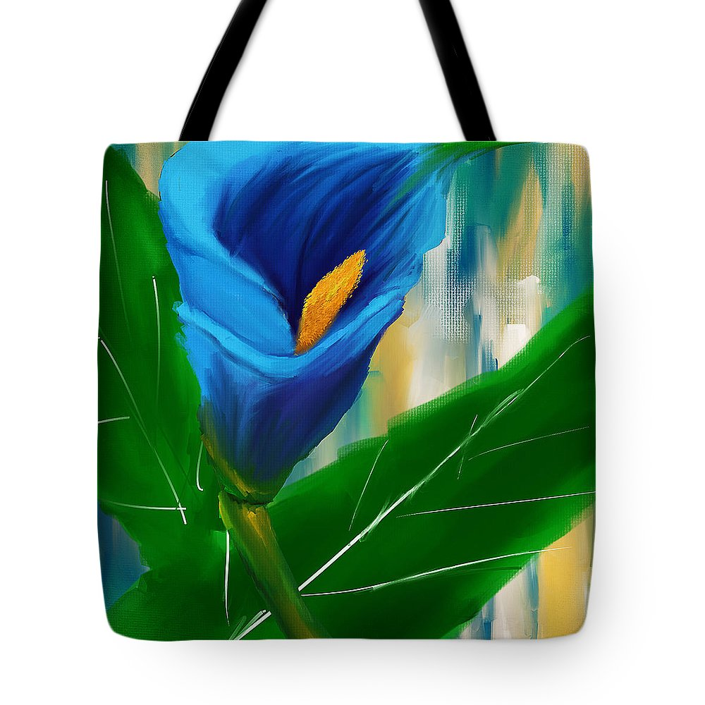 Blue Calla Lily Tote Bag featuring the painting Alone In Blue- Calla Lily Paintings by Lourry Legarde