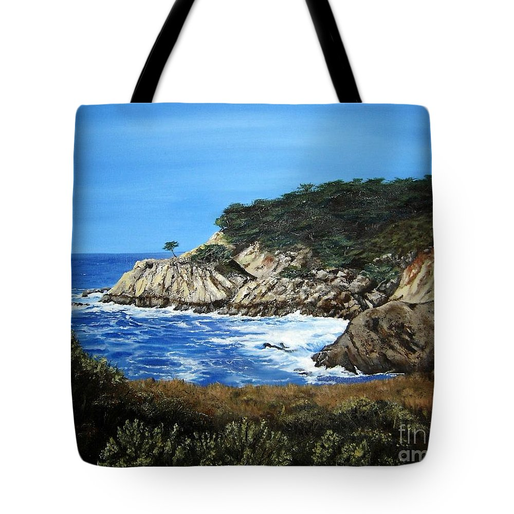 Landscape Tote Bag featuring the painting Along The California Coast by Mary Rogers