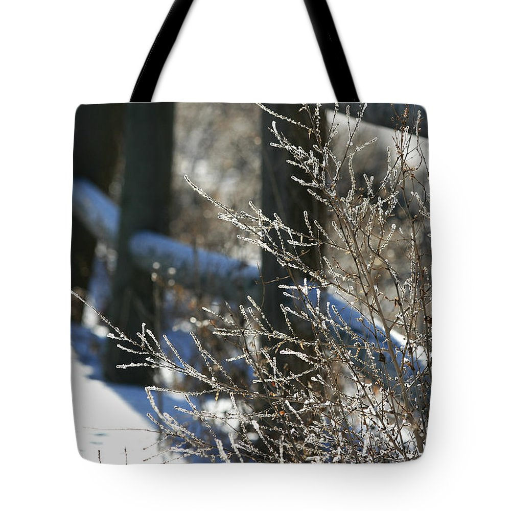 Winter Landscape Tote Bag featuring the photograph Along The Fence by Marty Fancy