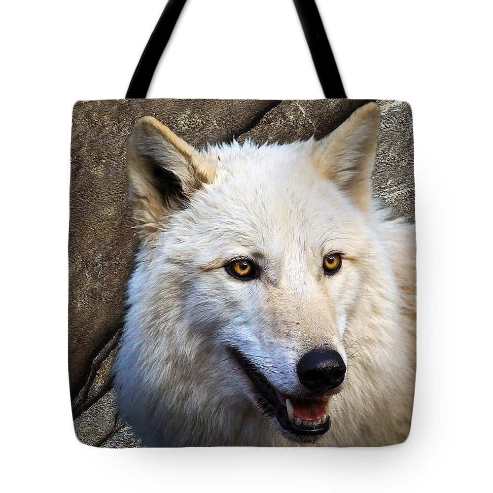 Wolf Art Tote Bag featuring the photograph Along The Wall by Steve McKinzie