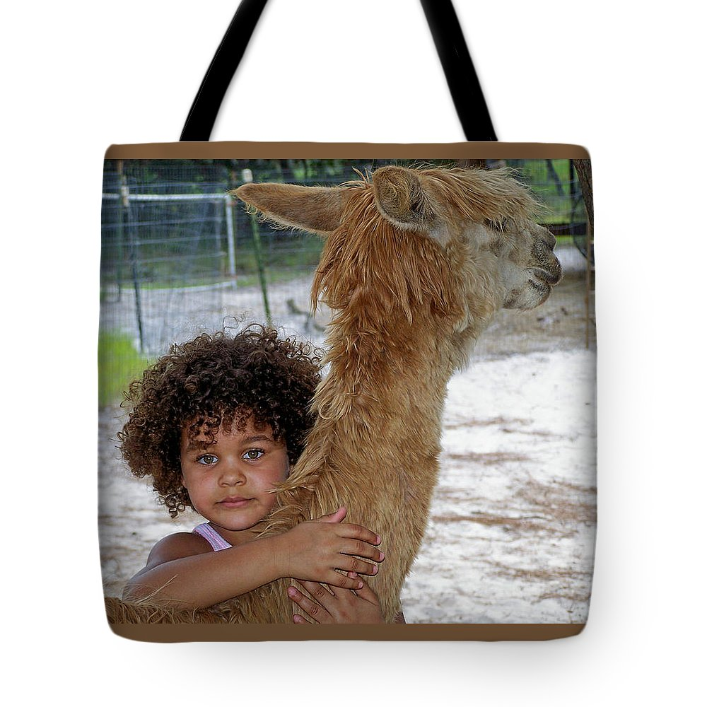 Animal Tote Bag featuring the photograph Alpaca Love by Judy Wanamaker