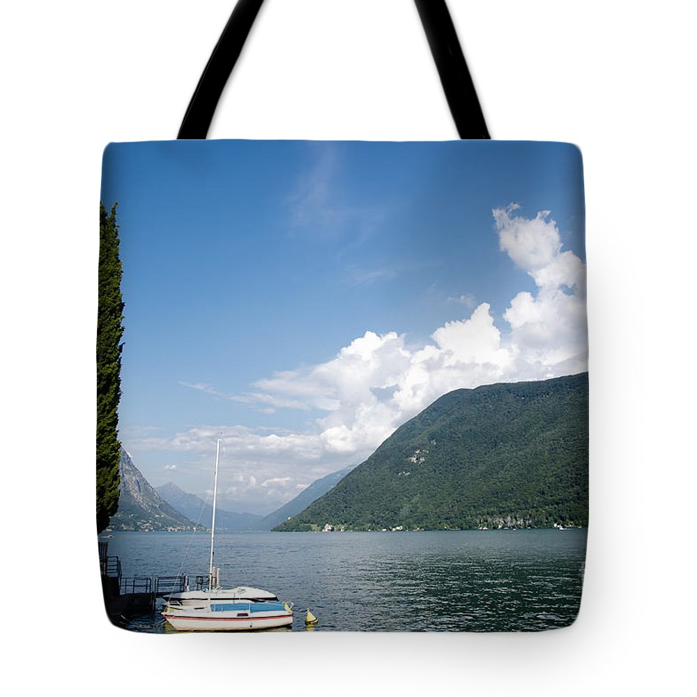Lake Tote Bag featuring the photograph Alpine Lake With A Cypress Tree by Mats Silvan