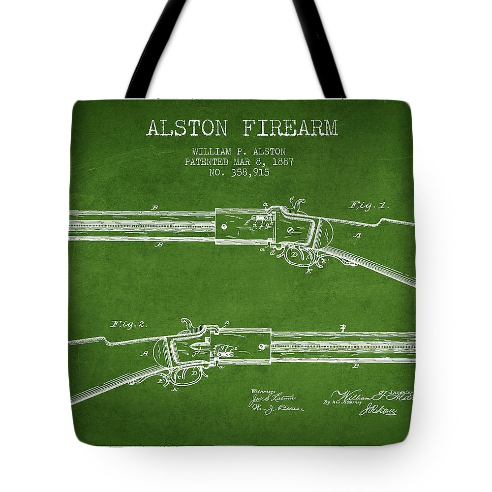Rifle Patent Tote Bag featuring the digital art Alston Firearm Patent Drawing From 1887- Green by Aged Pixel