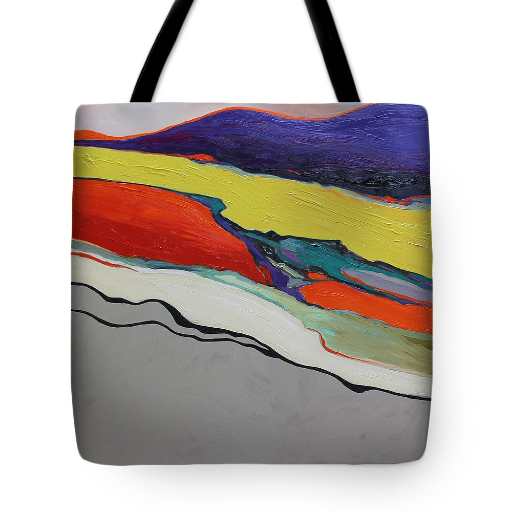 Abstract Tote Bag featuring the painting Altered Landscape by Maralyn Miller