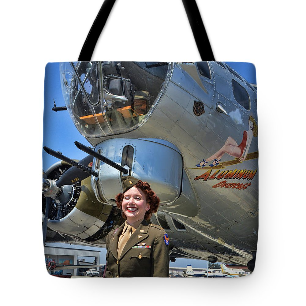 Boeing B-17 Flying Fortress Tote Bag featuring the photograph Aluminum Overcast 2 by Tommy Anderson