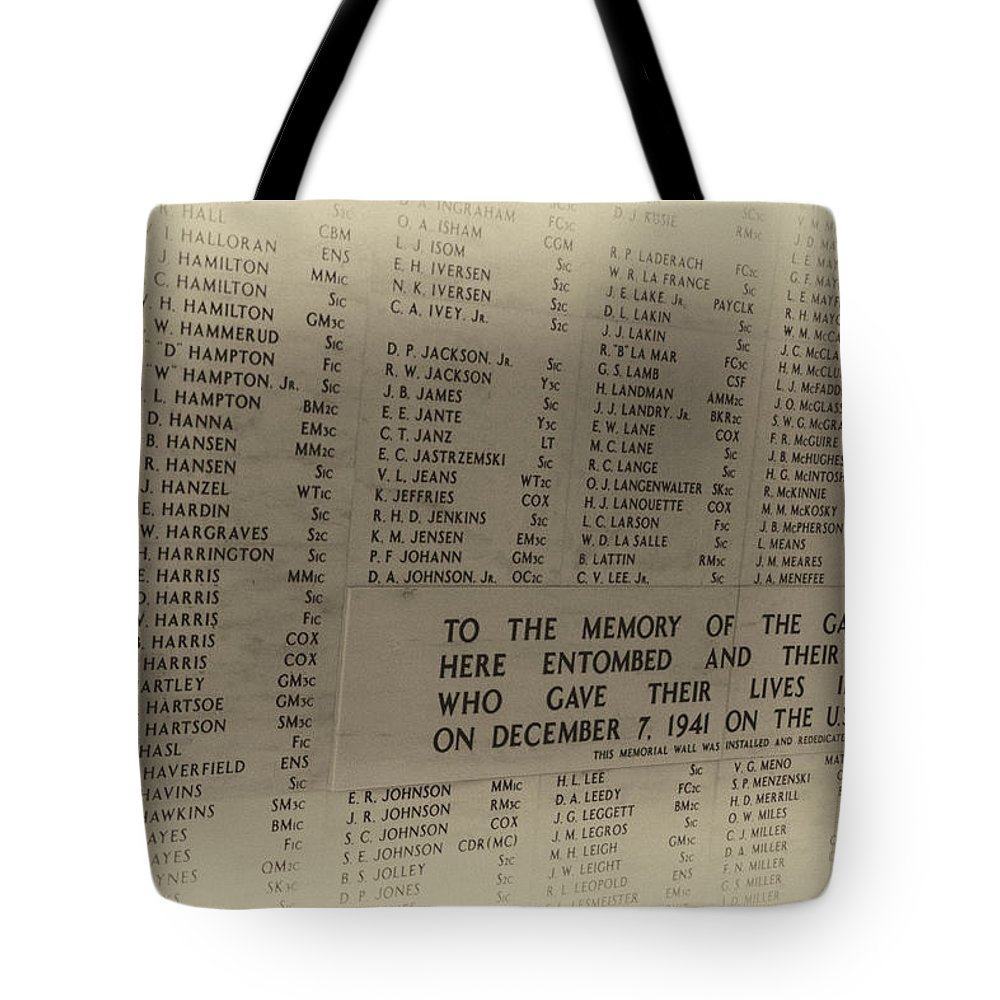 Uss Arizona Memorial Tote Bag featuring the photograph Always Remember by Douglas Barnard