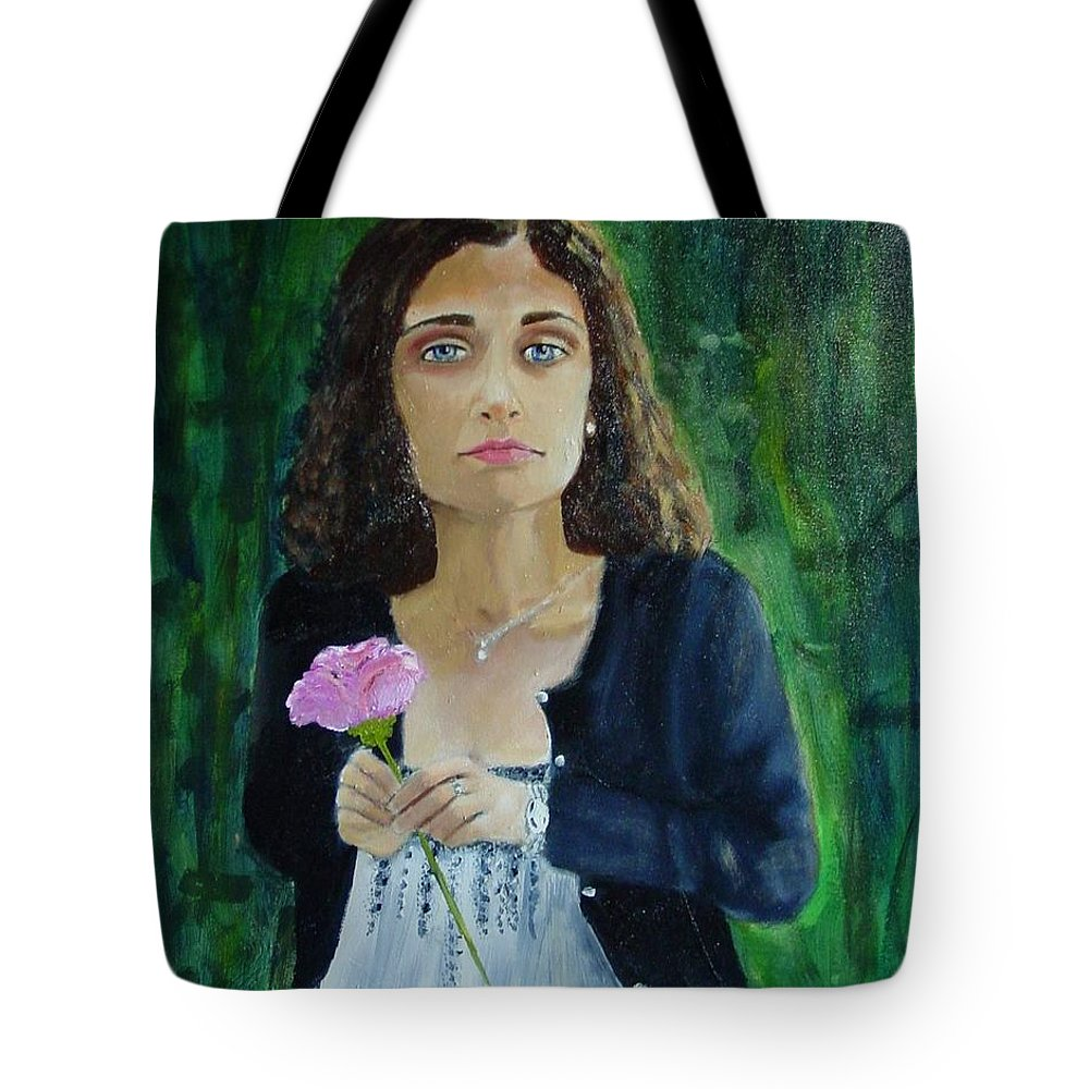 Portrait Tote Bag featuring the painting Aly by Laurie Morgan