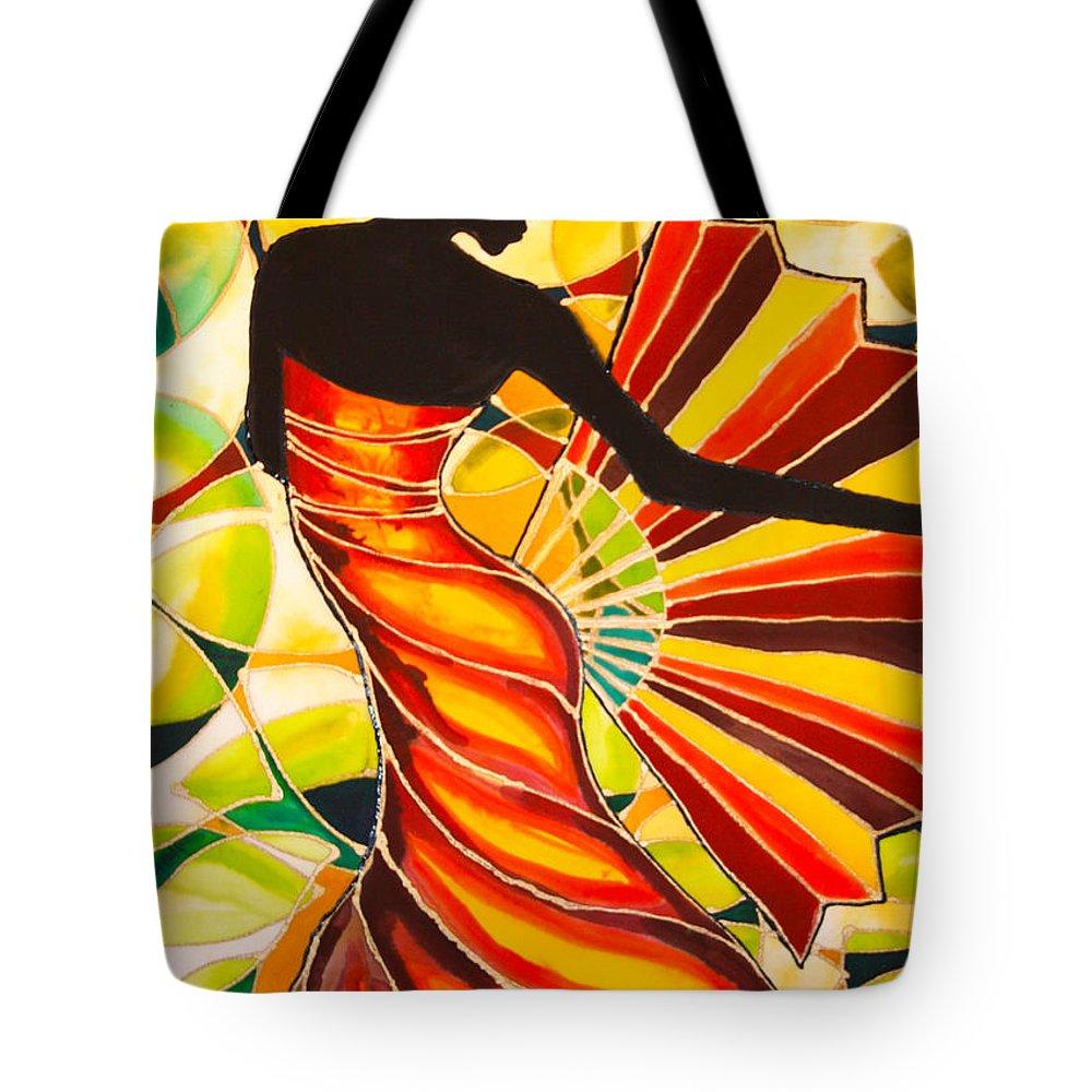 Silk Tote Bag featuring the painting Alysia The Fan Dancer Caye Caulker Belize by Lee Vanderwalker