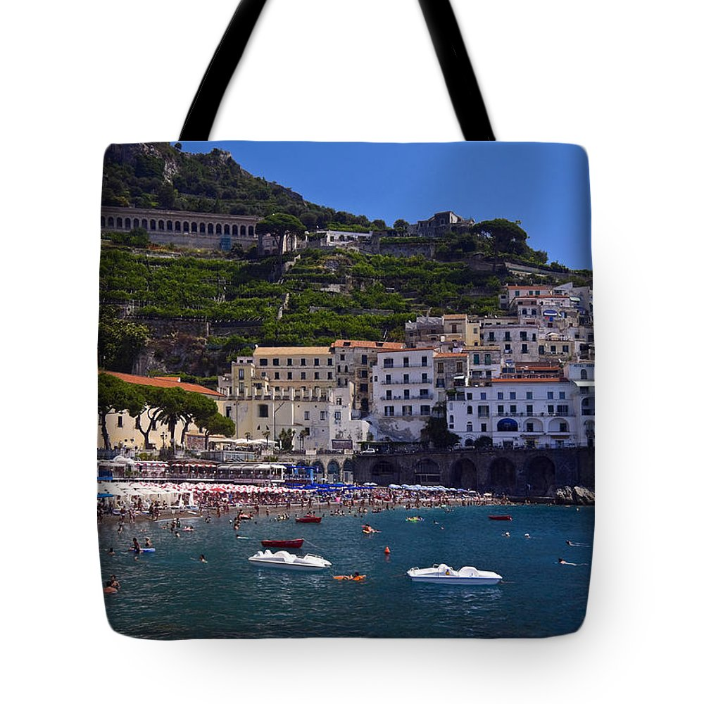 Amalfi Town Scene Tote Bag featuring the photograph Amalfi Beach And Town by Sally Weigand