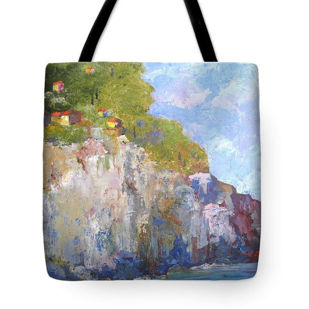 Amalfi Tote Bag featuring the painting Amalfi Coast by Kathleen Gwinnett