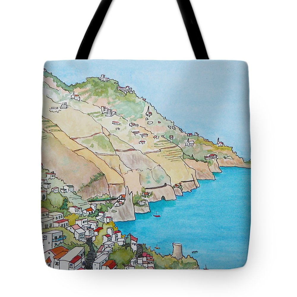 Landscape Tote Bag featuring the painting Amalfi Coast Praiano Italy by Mary Ellen Mueller Legault