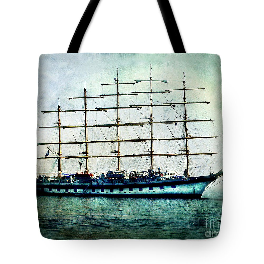 Royal Clipper Tote Bag featuring the digital art Amalfi Coast.royal Clipper by Jennie Breeze