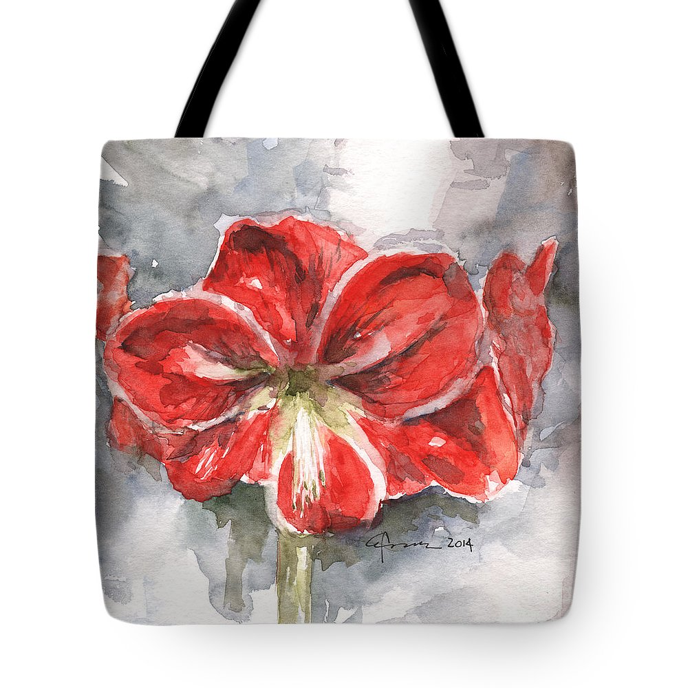 Amaryllis Tote Bag featuring the painting Amaryllis by Claudia Hafner