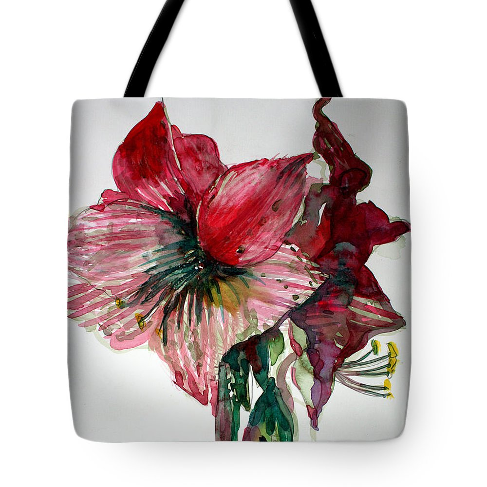 Amaryllis. Tote Bag featuring the painting Amaryllis by Mindy Newman