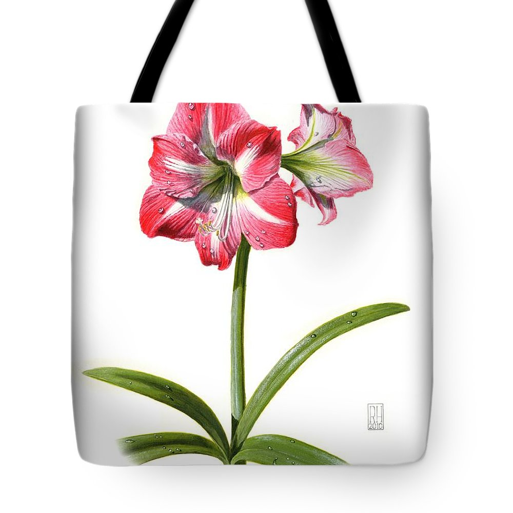 Amaryllis Tote Bag featuring the painting Amaryllis by Richard Harpum