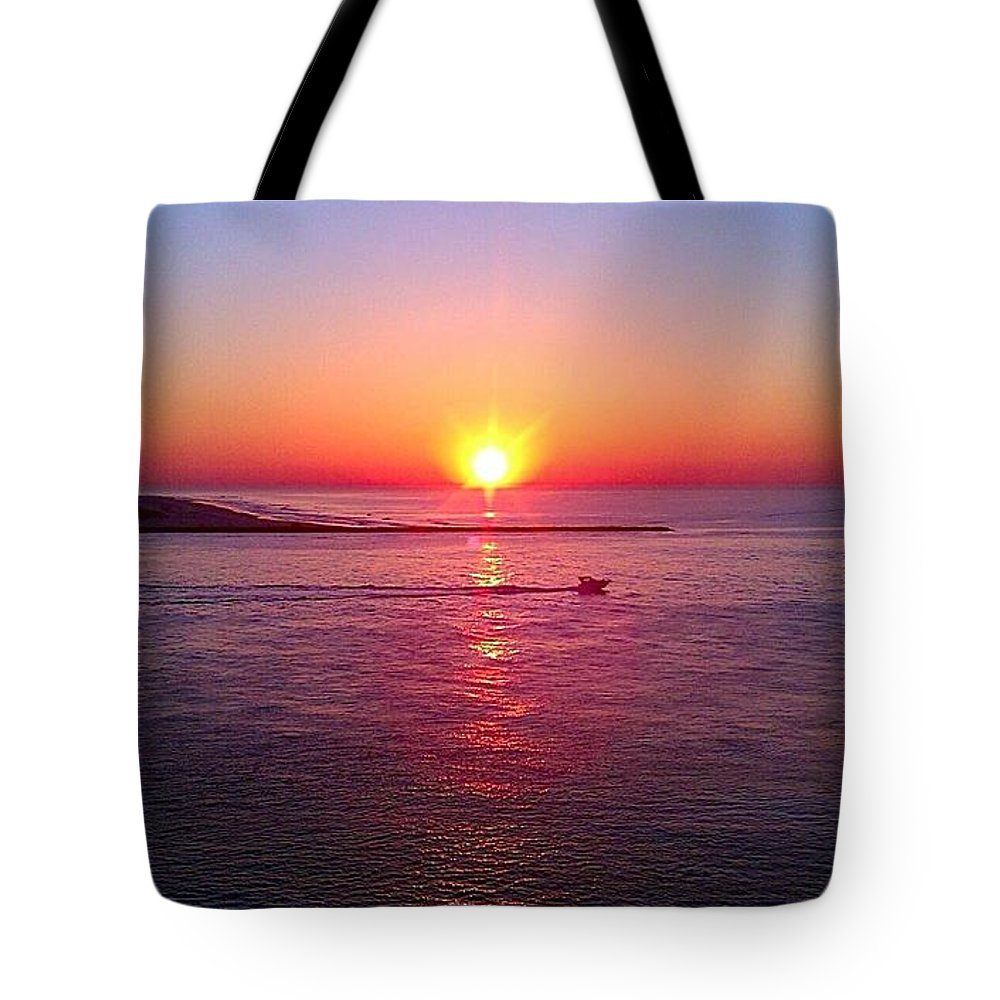 Moon Tote Bag featuring the photograph Amazing Sunrise by Georgina Mizzi