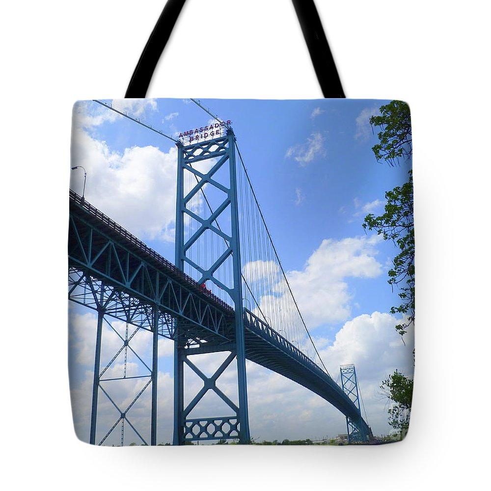 Landmark Tote Bag featuring the photograph Ambassador Bridge by Lingfai Leung