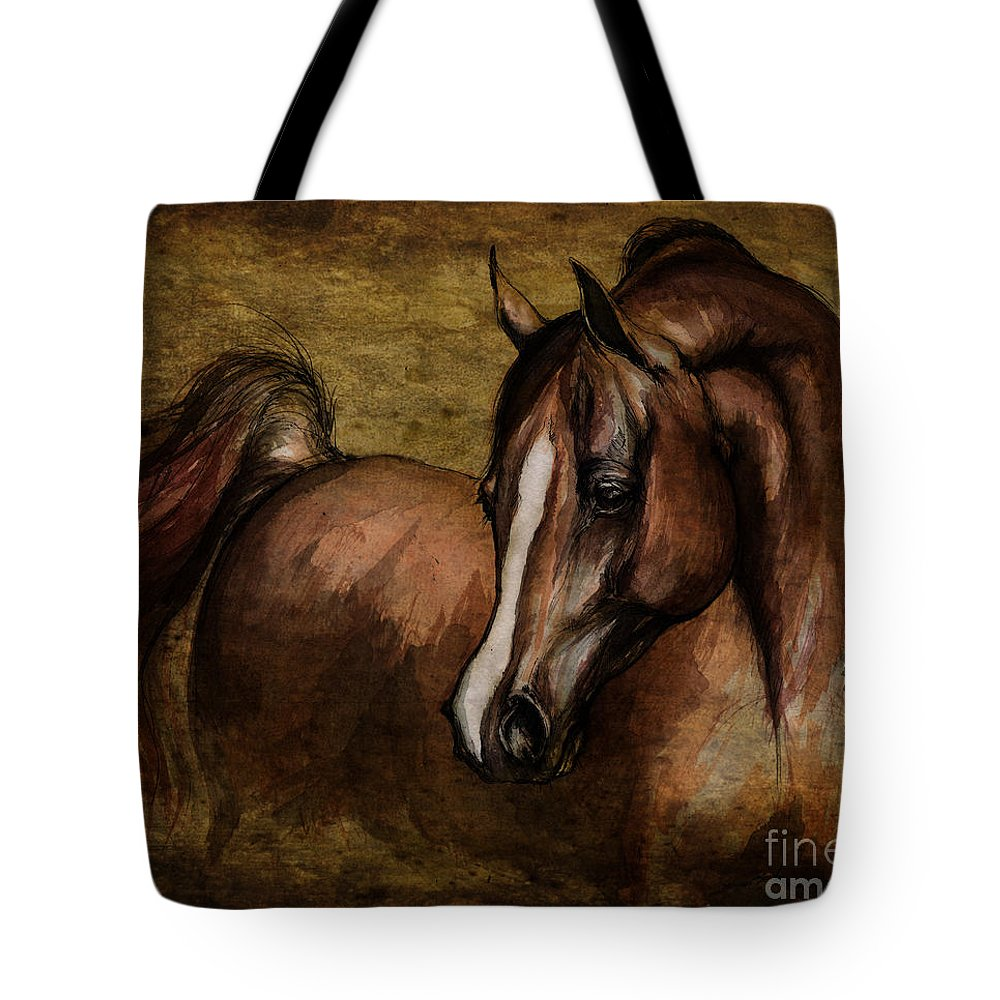 Horse Tote Bag featuring the painting Amber by Angel Ciesniarska