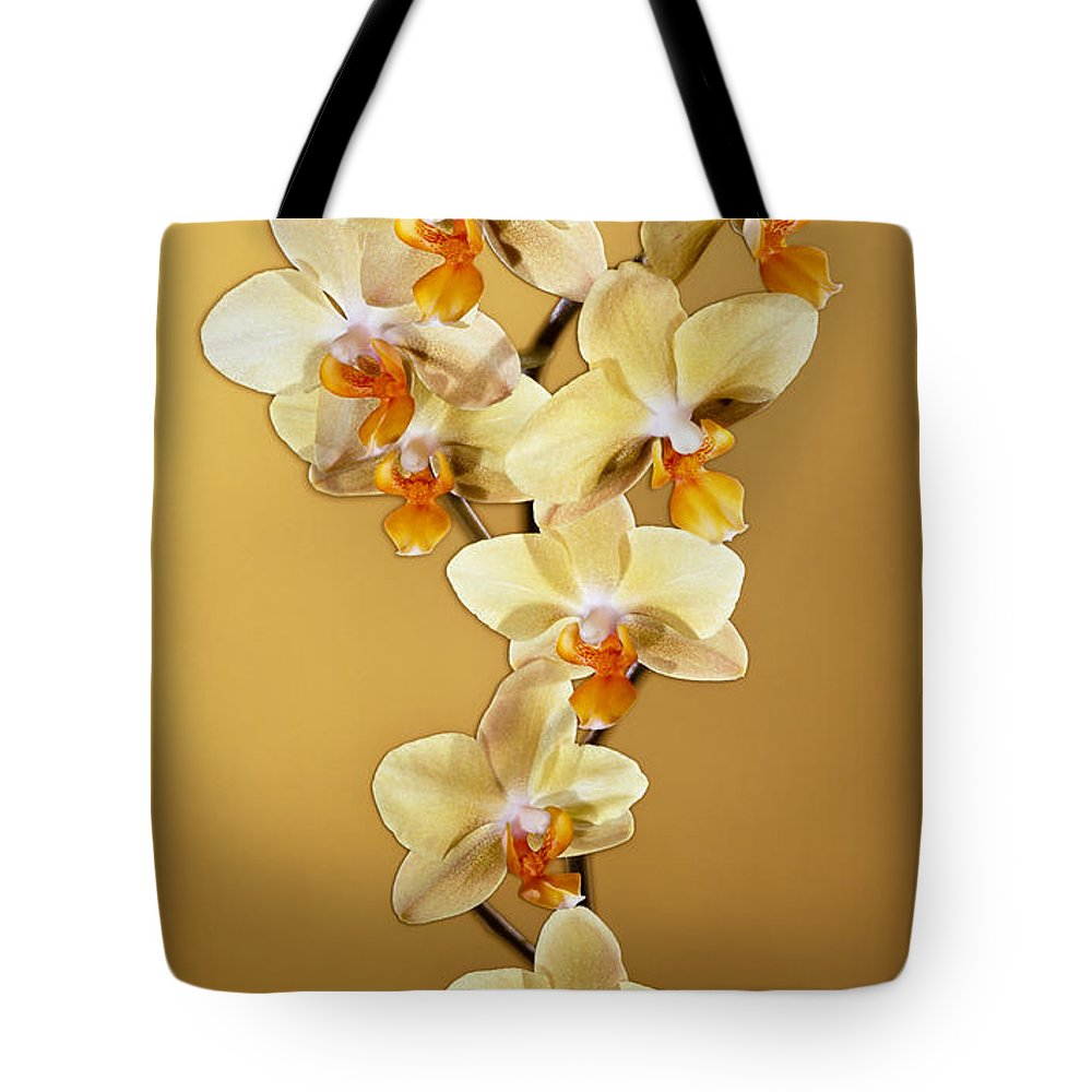 Phalaenopsis Tote Bag featuring the photograph Amber Phalaenopsis by Kirk Ellison