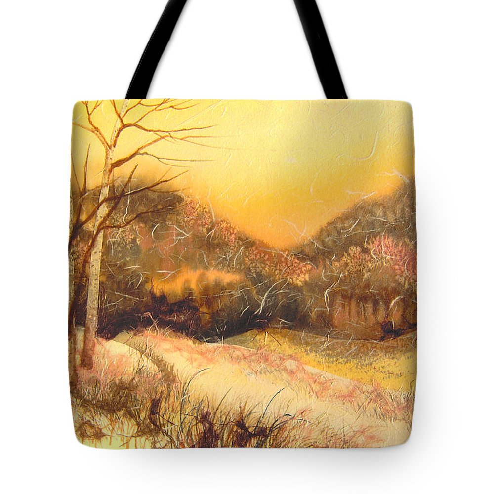 Landscape Tote Bag featuring the mixed media Amber Sunset by Joye Moon