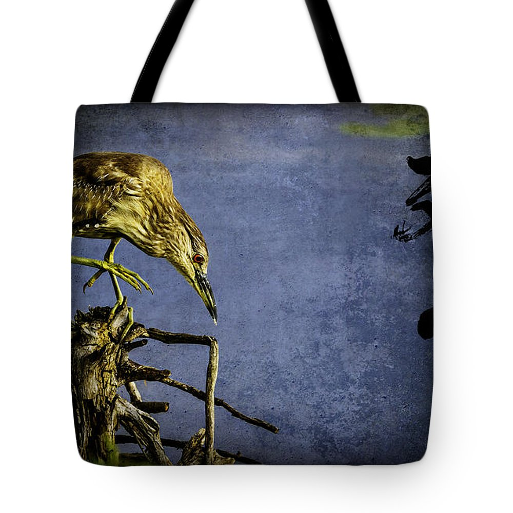 American Bittern Tote Bag featuring the mixed media American Bittern With Brush Calligraphy Lingering Mind by Peter v Quenter