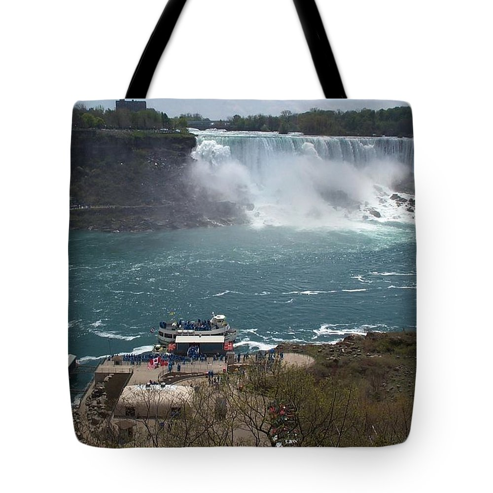 Niagara Falls Tote Bag featuring the photograph American Falls From Above The Maid by Barbara McDevitt