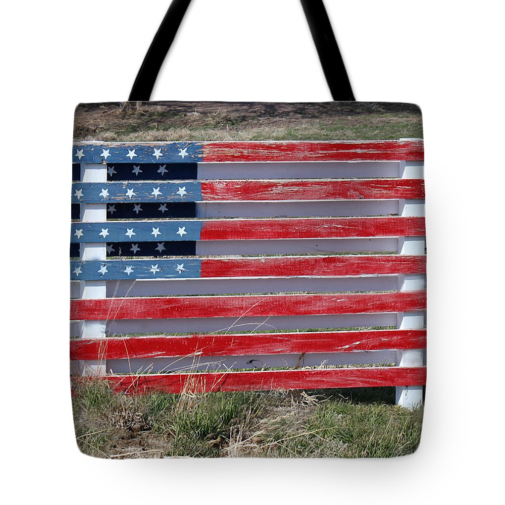 Americana Tote Bag featuring the photograph American Flag Country Style by Sylvia Thornton