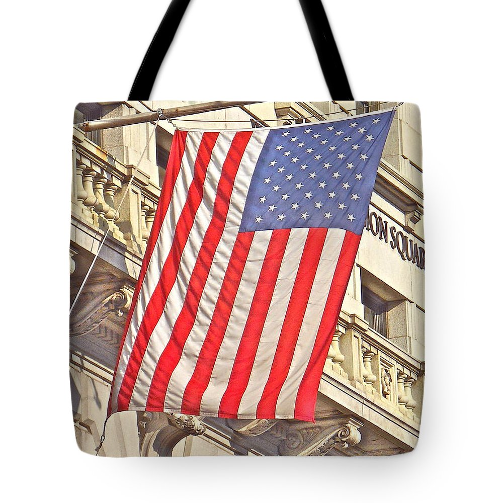 American Flag Tote Bag featuring the photograph American Flag N.y.c 1 by Joan Reese