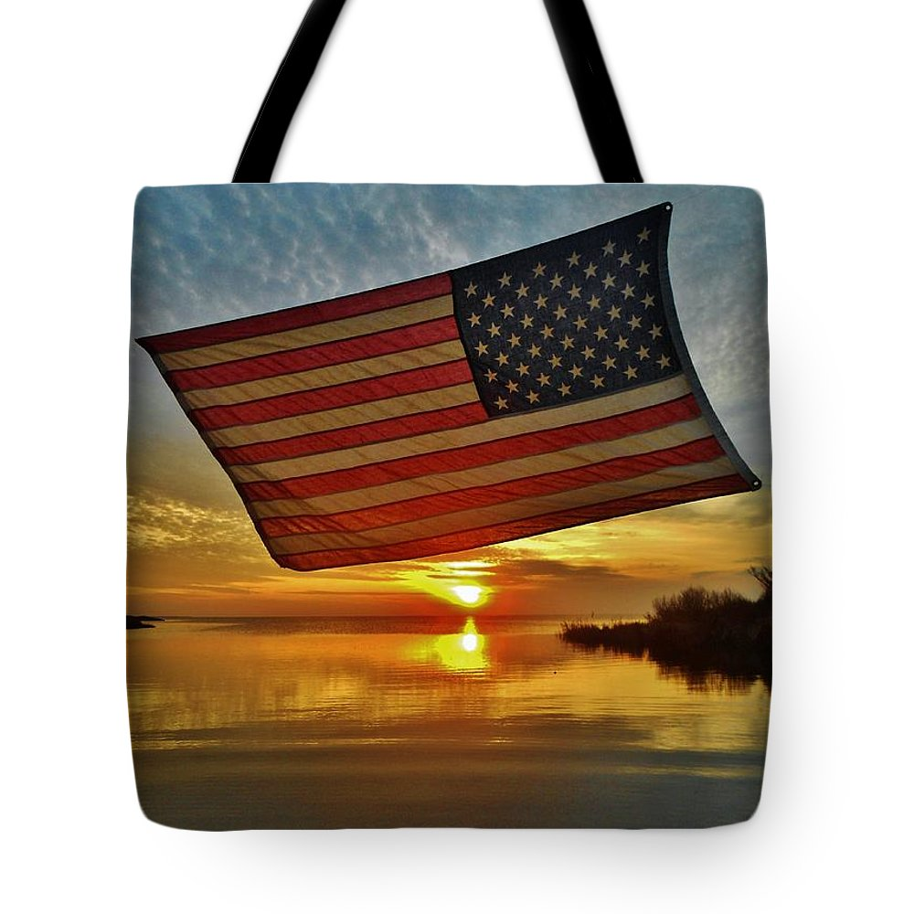 Mark Lemmon Cape Hatteras Nc The Outer Banks Photographer Subjects From Sunset Tote Bag featuring the photograph American Flag Sunset 14 2/18 by Mark Lemmon