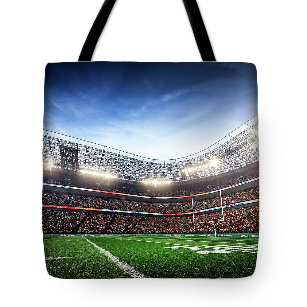 Financial Figures Tote Bag featuring the photograph American Football Stadium Arena Vertical by Sarhange1