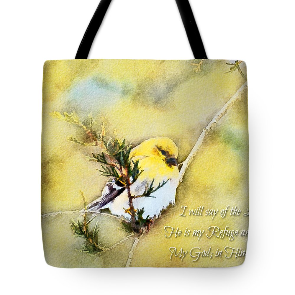 Branch Tote Bag featuring the photograph American Goldfinch On A Cedar Twig With Digital Paint And Verse by Debbie Portwood